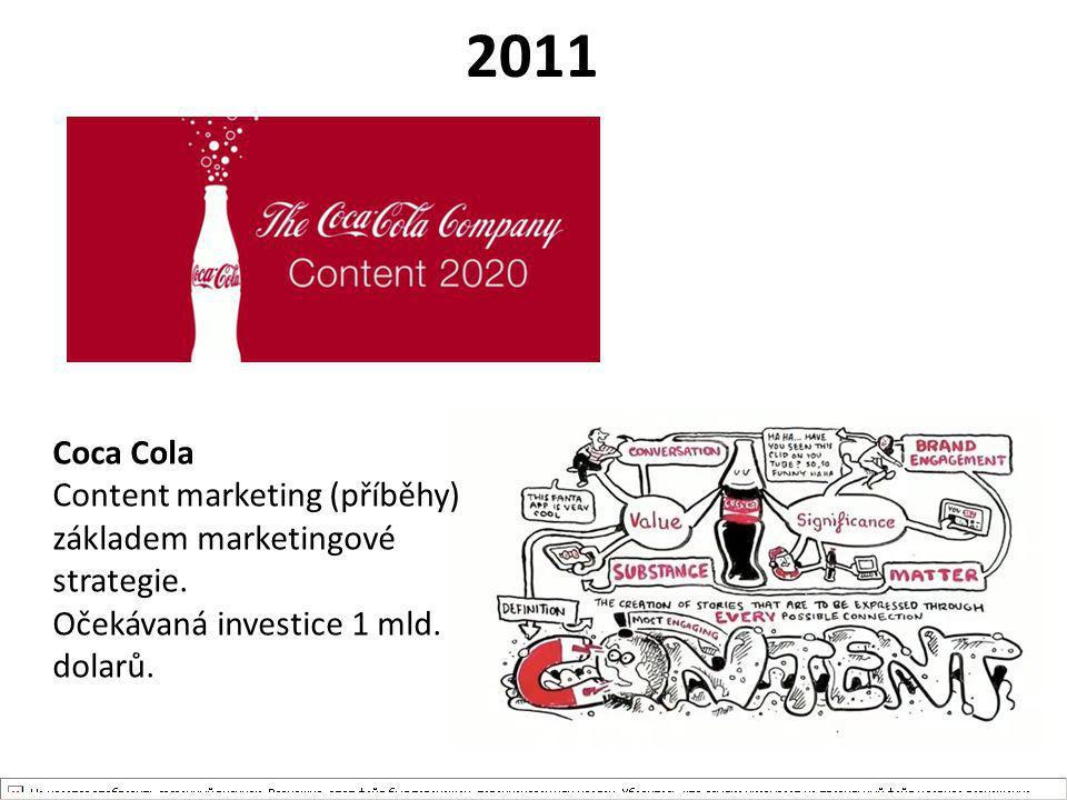 2011 Coca Cola Content marketing (příběhy) základem marketingové strategie. Očekávaná investice 1 mld. dolarů.