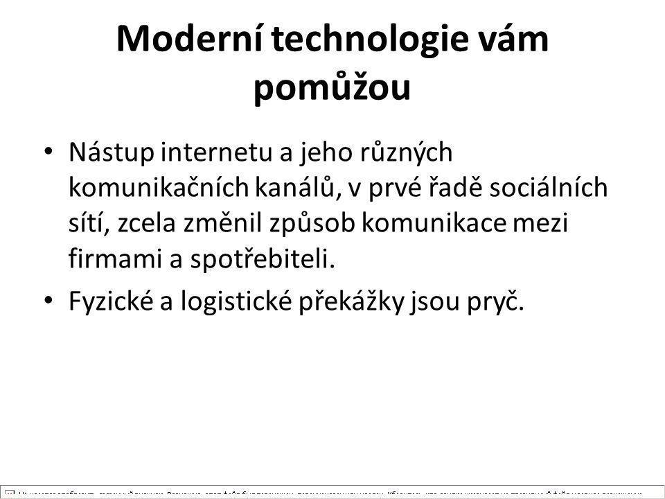 Moderní technologie vám pomůžou Nástup internetu a jeho různých komunikačních kanálů, v prvé řadě sociálních sítí, zcela změnil způsob komunikace mezi