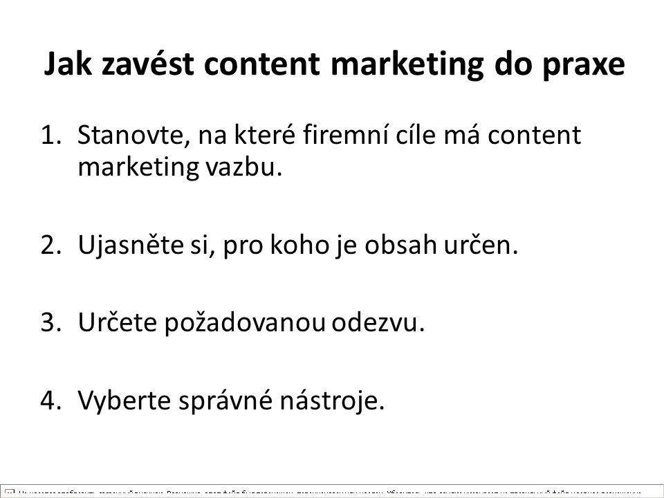 Jak zavést content marketing do praxe 1.Stanovte, na které firemní cíle má content marketing vazbu. 2.Ujasněte si, pro koho je obsah určen. 3.Určete p