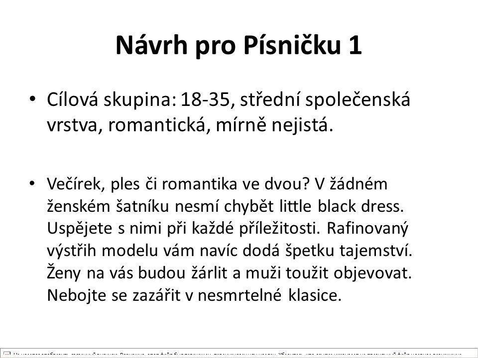 Návrh pro Písničku 1 Cílová skupina: 18-35, střední společenská vrstva, romantická, mírně nejistá. Večírek, ples či romantika ve dvou? V žádném ženské