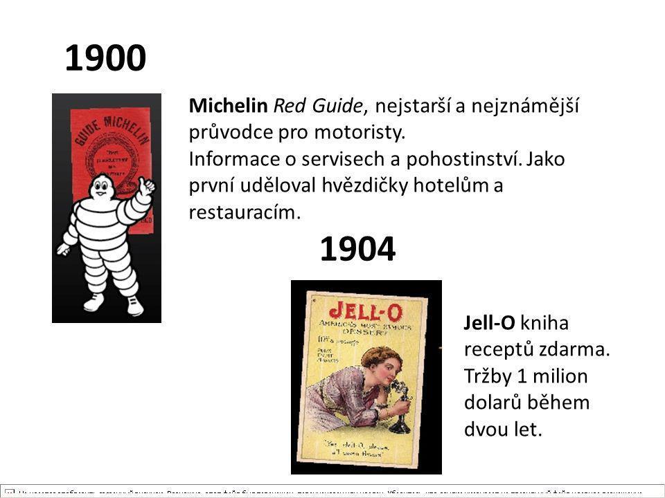 1900 Michelin Red Guide, nejstarší a nejznámější průvodce pro motoristy. Informace o servisech a pohostinství. Jako první uděloval hvězdičky hotelům a