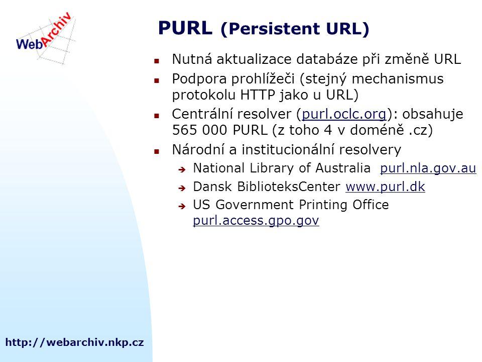 http://webarchiv.nkp.cz PURL (Persistent URL) Nutná aktualizace databáze při změně URL Podpora prohlížeči (stejný mechanismus protokolu HTTP jako u URL) Centrální resolver (purl.oclc.org): obsahuje 565 000 PURL (z toho 4 v doméně.cz)purl.oclc.org Národní a institucionální resolvery  National Library of Australia purl.nla.gov.aupurl.nla.gov.au  Dansk BiblioteksCenter www.purl.dkwww.purl.dk  US Government Printing Office purl.access.gpo.gov purl.access.gpo.gov