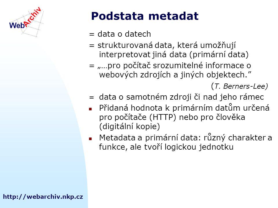 """http://webarchiv.nkp.cz Podstata metadat = data o datech = strukturovaná data, která umožňují interpretovat jiná data (primární data) = """"…pro počítač srozumitelné informace o webových zdrojích a jiných objektech. ( T."""