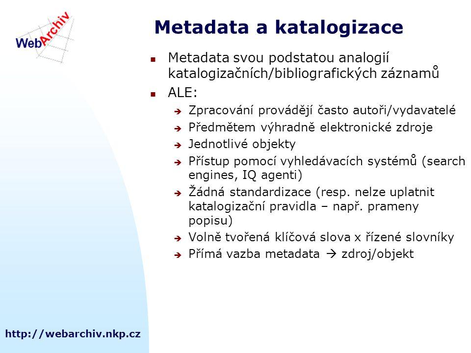 http://webarchiv.nkp.cz Metadata a katalogizace Metadata svou podstatou analogií katalogizačních/bibliografických záznamů ALE:  Zpracování provádějí často autoři/vydavatelé  Předmětem výhradně elektronické zdroje  Jednotlivé objekty  Přístup pomocí vyhledávacích systémů (search engines, IQ agenti)  Žádná standardizace (resp.