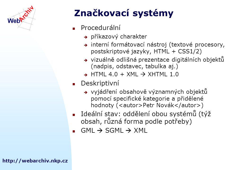 http://webarchiv.nkp.cz Značkovací systémy Procedurální  příkazový charakter  interní formátovací nástroj (textové procesory, postskriptové jazyky,