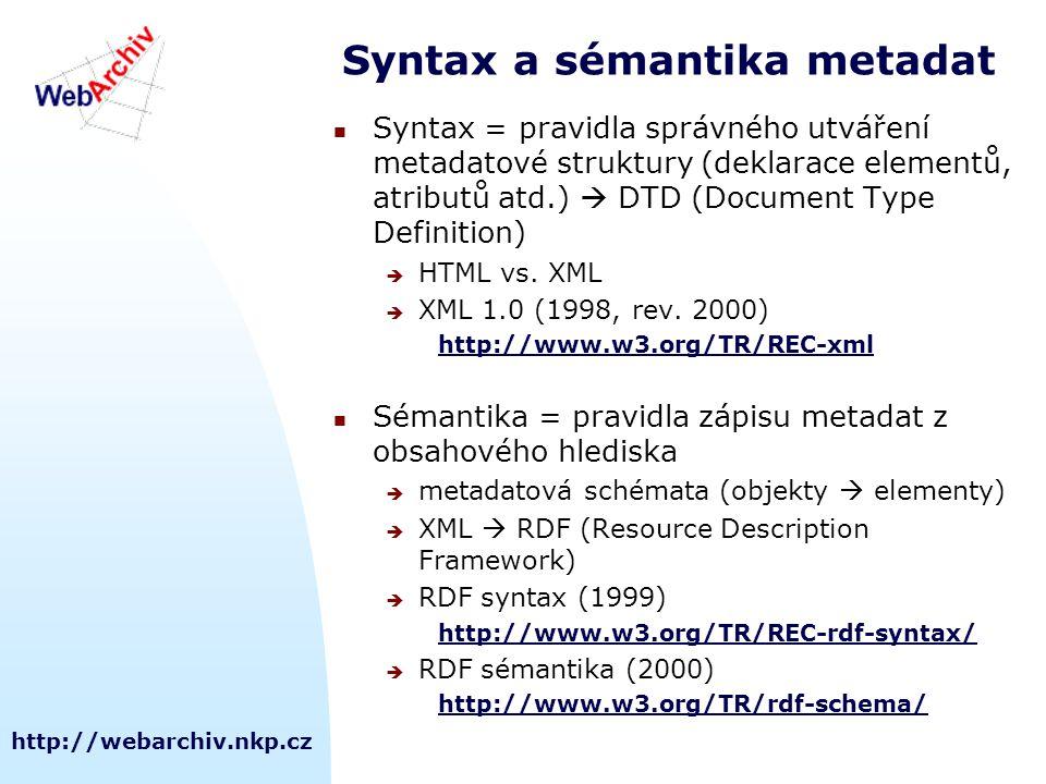 http://webarchiv.nkp.cz Syntax a sémantika metadat Syntax = pravidla správného utváření metadatové struktury (deklarace elementů, atributů atd.)  DTD (Document Type Definition)  HTML vs.
