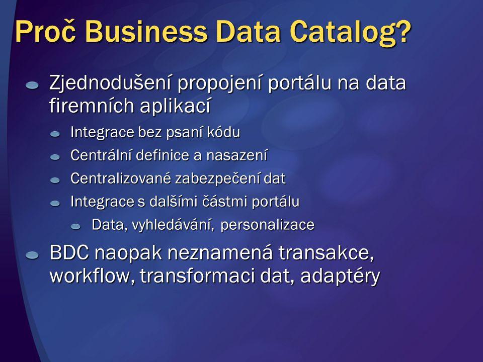 Proč Business Data Catalog? Zjednodušení propojení portálu na data firemních aplikací Integrace bez psaní kódu Centrální definice a nasazení Centraliz