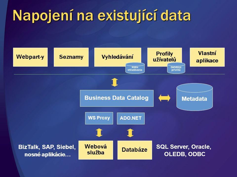 Napojení na existující data Metadata Business Data Catalog Web part-ySeznamyVyhledávání Profily užívatelů Vlastní aplikace Databáze WS Proxy ADO.NET W