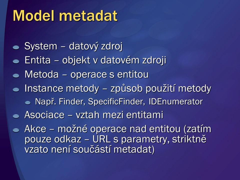 Model metadat System – datový zdroj Entita – objekt v datovém zdroji Metoda – operace s entitou Instance metody – způsob použití metody Např. Finder,