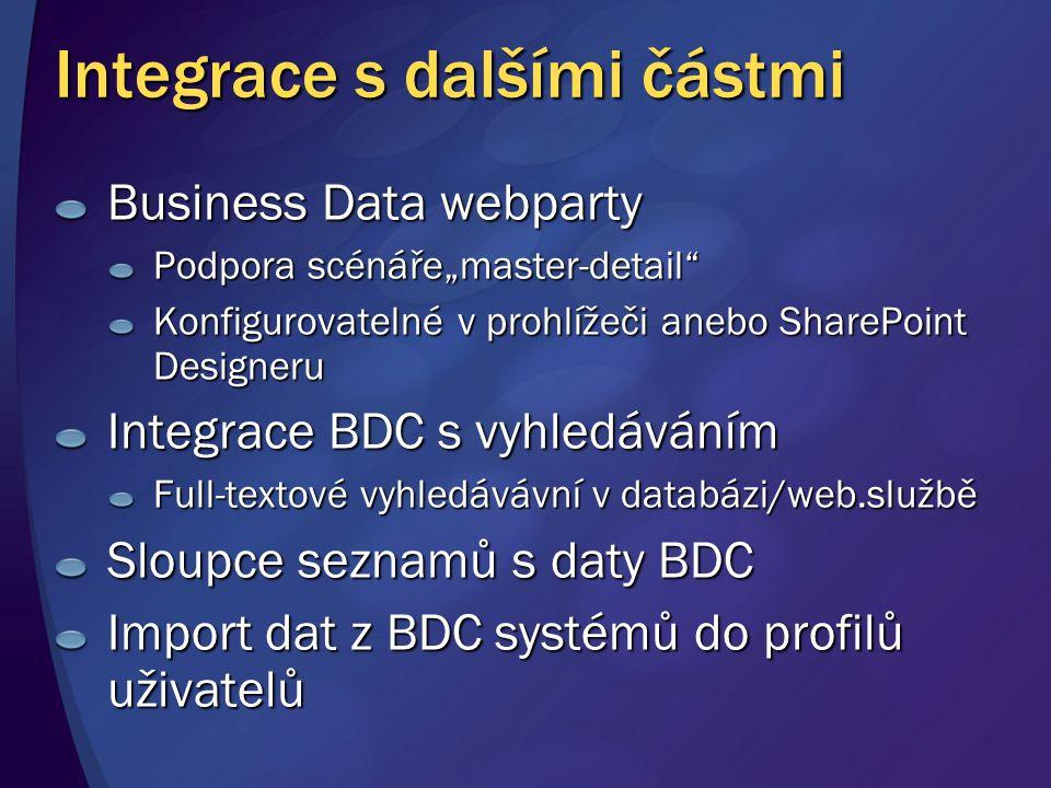 """Integrace s dalšími částmi Business Data webparty Podpora scénáře""""master-detail"""" Konfigurovatelné v prohlížeči anebo SharePoint Designeru Integrace BD"""
