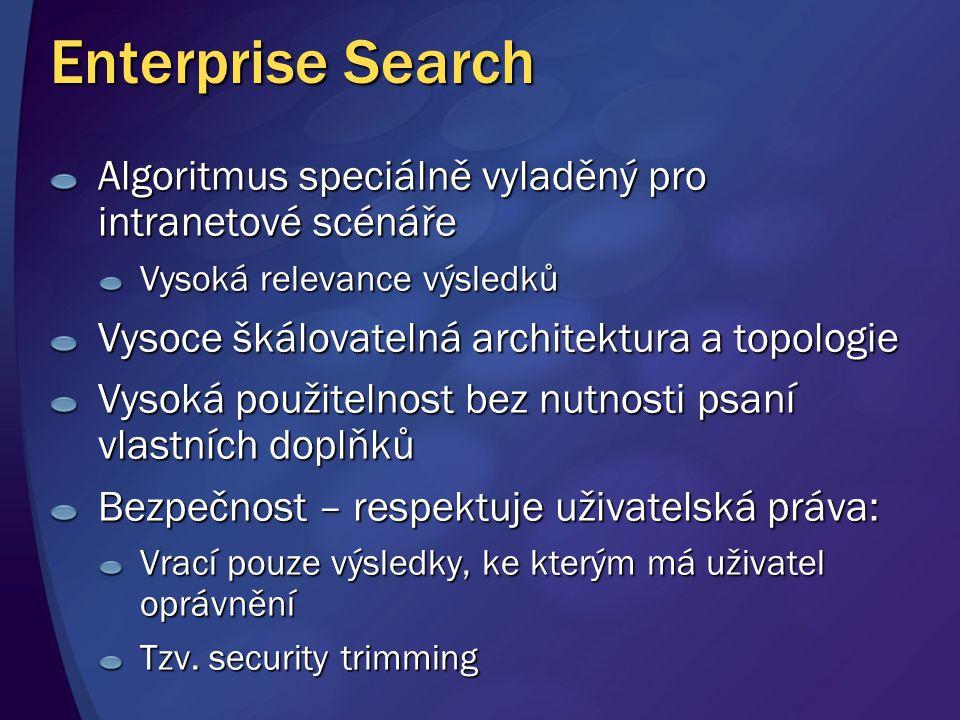 Enterprise Search Algoritmus speciálně vyladěný pro intranetové scénáře Vysoká relevance výsledků Vysoce škálovatelná architektura a topologie Vysoká