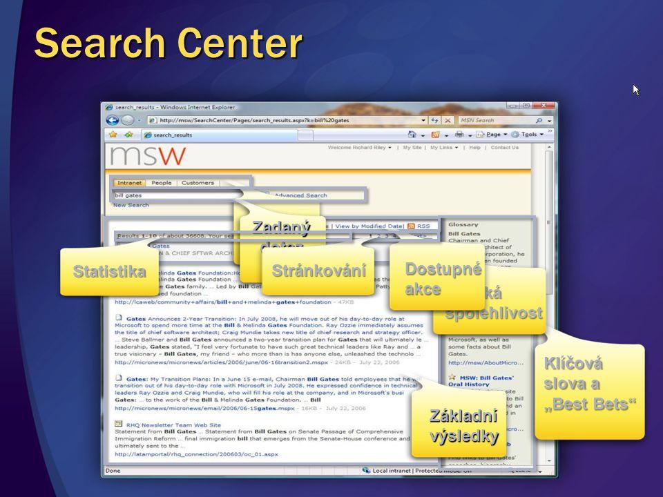 """Klíčová slova a """"Best Bets"""" Vysoká spolehlivost Dostupné akce Záložky hledání Zadaný dotaz Stránkování Statistika Základní výsledky Search Center"""