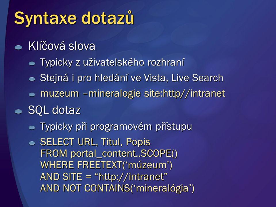 Syntaxe dotazů Klíčová slova Typicky z uživatelského rozhraní Stejná i pro hledání ve Vista, Live Search muzeum –mineralogie site:http//intranet SQL d