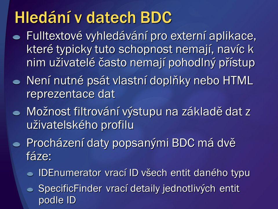 Hledání v datech BDC Fulltextové vyhledávání pro externí aplikace, které typicky tuto schopnost nemají, navíc k nim uživatelé často nemají pohodlný př