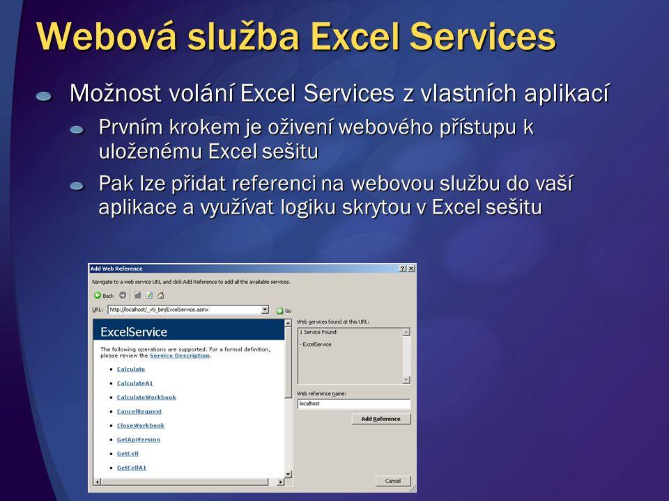 Možnost volání Excel Services z vlastních aplikací Prvním krokem je oživení webového přístupu k uloženému Excel sešitu Pak lze přidat referenci na web