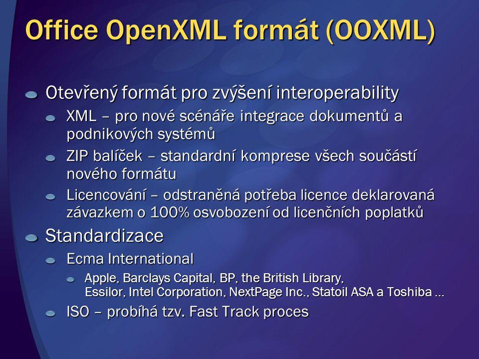 Office OpenXML formát (OOXML) Otevřený formát pro zvýšení interoperability XML – pro nové scénáře integrace dokumentů a podnikových systémů ZIP balíče