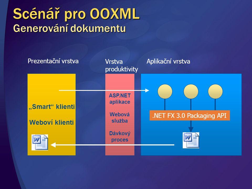 """ASP.NET aplikace Webová služba Dávkový proces """"Smart"""" klienti Weboví klienti Aplikační vrstva Vrstva produktivity Prezentační vrstva.NET FX 3.0 Packag"""