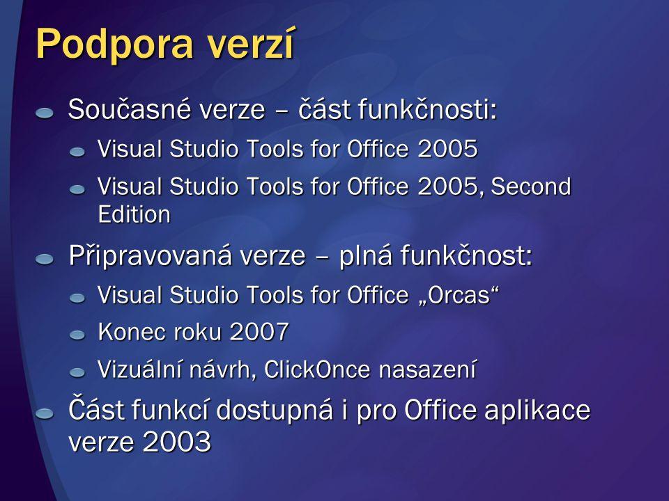 Podpora verzí Současné verze – část funkčnosti: Visual Studio Tools for Office 2005 Visual Studio Tools for Office 2005, Second Edition Připravovaná v