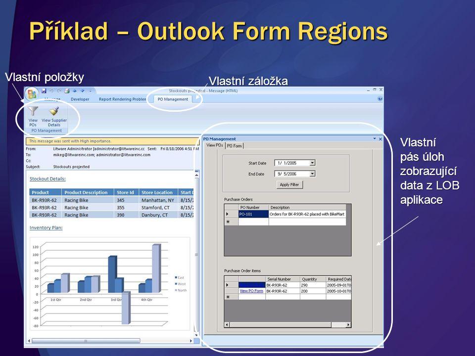 Příklad – Outlook Form Regions Vlastní položky Vlastní záložka Vlastní pás úloh zobrazující data z LOB aplikace