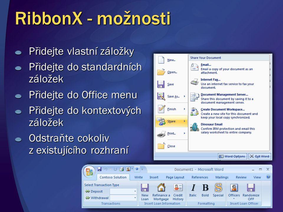 RibbonX - možnosti Přidejte vlastní záložky Přidejte do standardních záložek Přidejte do Office menu Přidejte do kontextových záložek Odstraňte cokoli