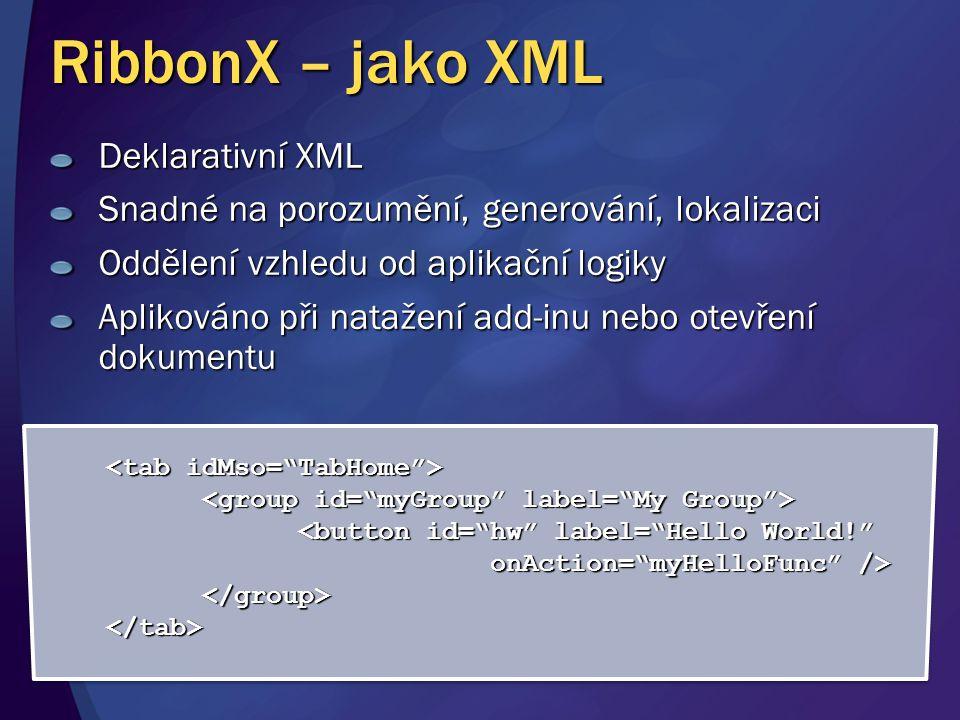 RibbonX – jako XML Deklarativní XML Snadné na porozumění, generování, lokalizaci Oddělení vzhledu od aplikační logiky Aplikováno při natažení add-inu