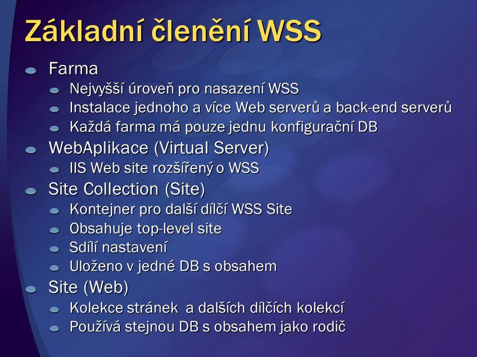 Základní členění WSS Farma Nejvyšší úroveň pro nasazení WSS Instalace jednoho a více Web serverů a back-end serverů Každá farma má pouze jednu konfigu