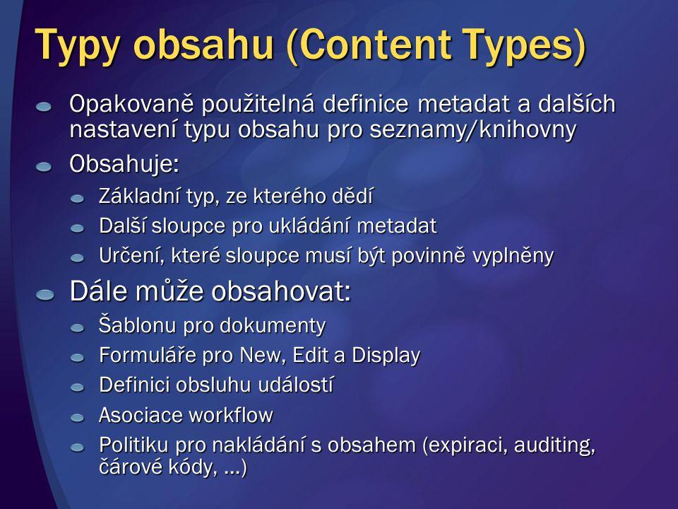 Typy obsahu (Content Types) Opakovaně použitelná definice metadat a dalších nastavení typu obsahu pro seznamy/knihovny Obsahuje: Základní typ, ze kter