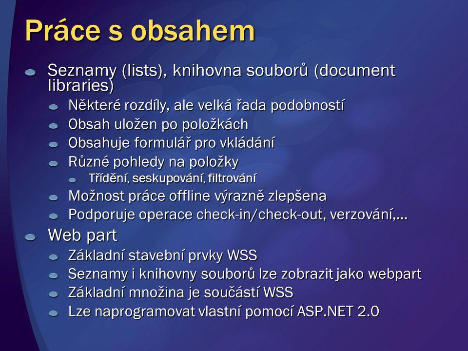 Práce s obsahem Seznamy (lists), knihovna souborů (document libraries) Některé rozdíly, ale velká řada podobností Obsah uložen po položkách Obsahuje f