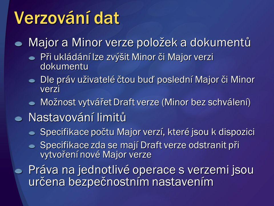 Verzování dat Major a Minor verze položek a dokumentů Při ukládání lze zvýšit Minor či Major verzi dokumentu Dle práv uživatelé čtou buď poslední Majo
