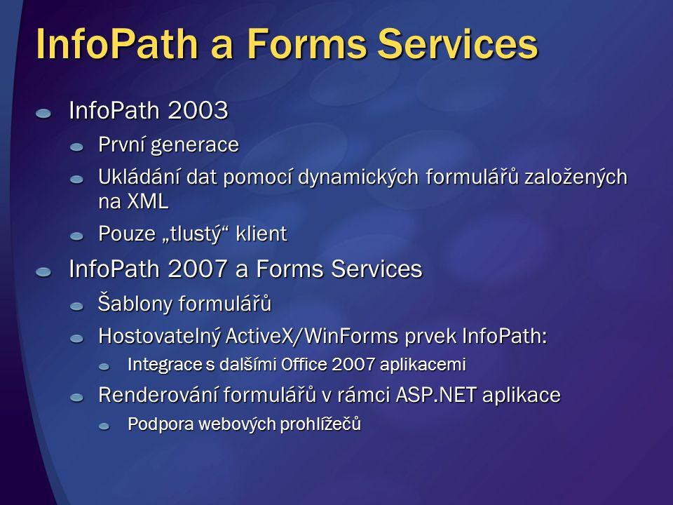 """InfoPath a Forms Services InfoPath 2003 První generace Ukládání dat pomocí dynamických formulářů založených na XML Pouze """"tlustý"""" klient InfoPath 2007"""