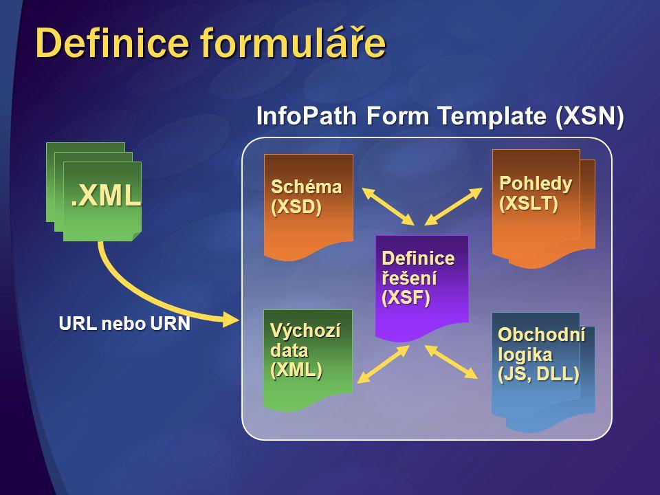 Definice formuláře.XML Definice řešení (XSF) Pohledy (XSLT) Schéma (XSD) Výchozí data (XML) Obchodní logika (JS, DLL) InfoPath Form Template (XSN) URL
