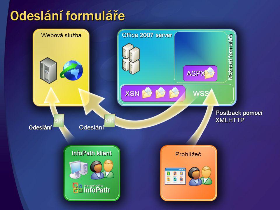 Web ová služba WSS WSS Office 2007 server XSN ASPX Možnosti formulářů Postback pomocí XMLHTTP Odeslání Prohlížeč InfoPath k lient Odeslání Odeslání fo