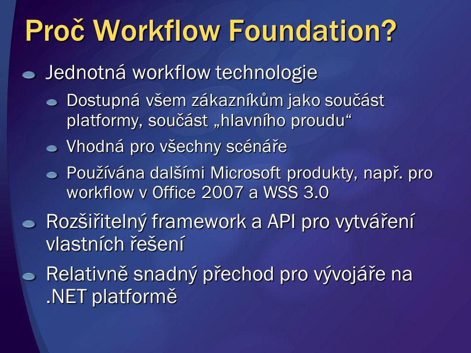 """Proč Workflow Foundation? Jednotná workflow technologie Dostupná všem zákazníkům jako součást platformy, součást """"hlavního proudu"""" Vhodná pro všechny"""