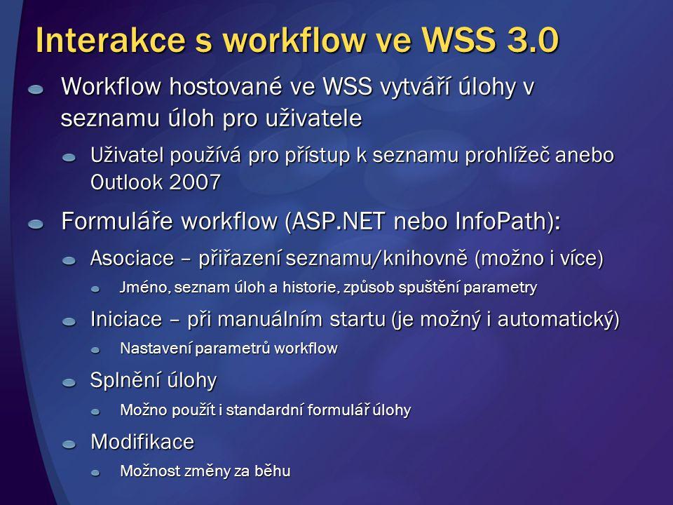 Interakce s workflow ve WSS 3.0 Workflow hostované ve WSS vytváří úlohy v seznamu úloh pro uživatele Uživatel používá pro přístup k seznamu prohlížeč