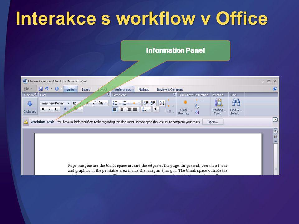 Interakce s workflow v Office Information Panel