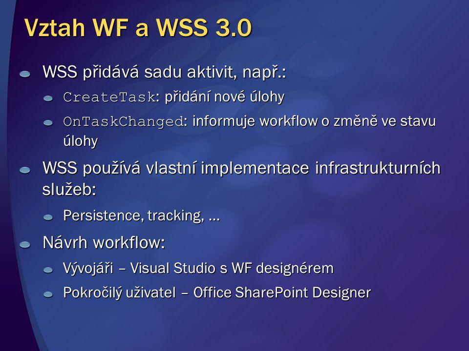 Vztah WF a WSS 3.0 WSS přidává sadu aktivit, např.: CreateTask : přidání nové úlohy OnTaskChanged : informuje workflow o změně ve stavu úlohy WSS použ