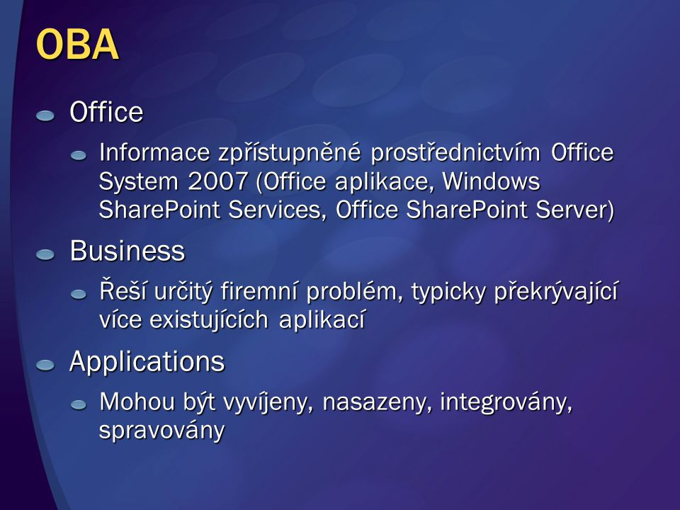 OBA Office Informace zpřístupněné prostřednictvím Office System 2007 (Office aplikace, Windows SharePoint Services, Office SharePoint Server) Business