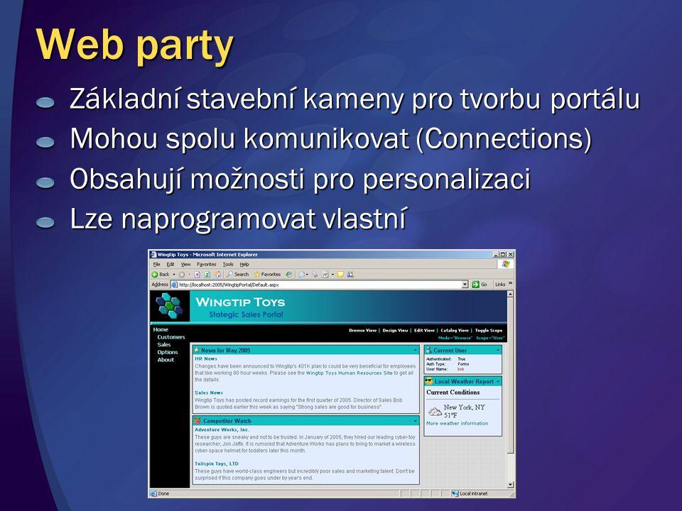 Web party Základní stavební kameny pro tvorbu portálu Mohou spolu komunikovat (Connections) Obsahují možnosti pro personalizaci Lze naprogramovat vlas