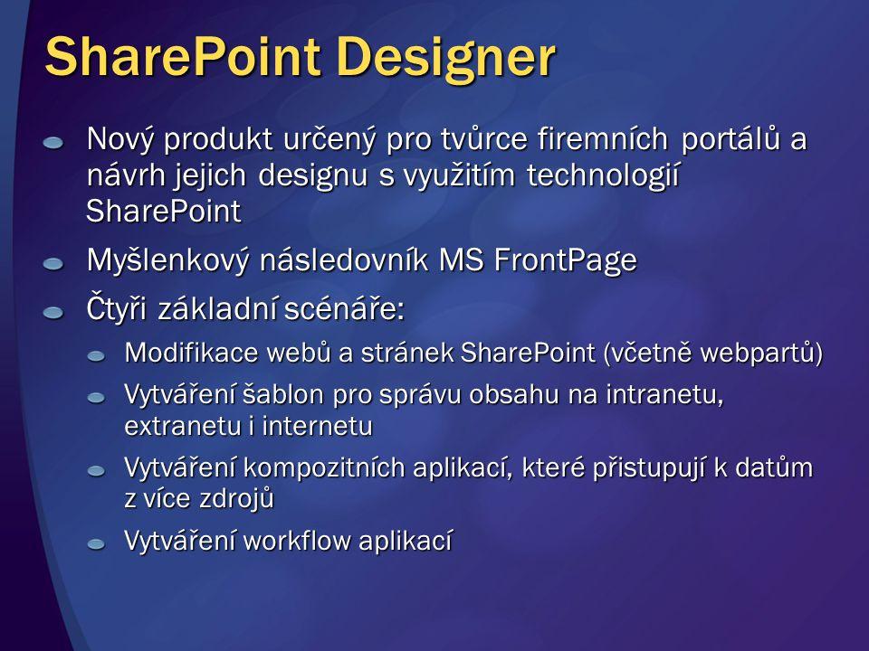 SharePoint Designer Nový produkt určený pro tvůrce firemních portálů a návrh jejich designu s využitím technologií SharePoint Myšlenkový následovník M