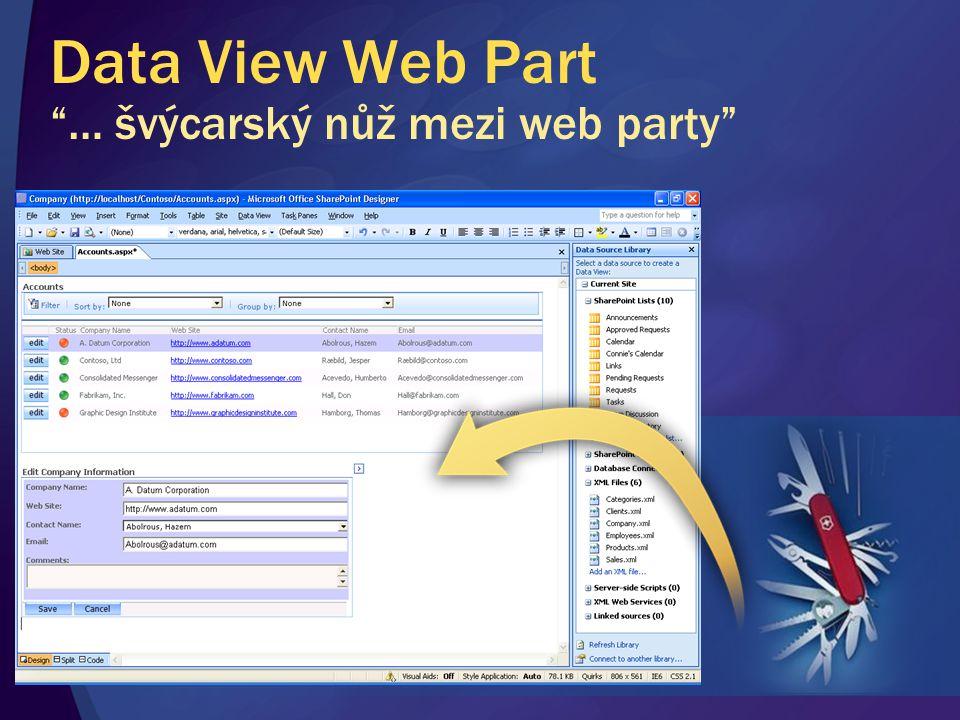 """Data View Web Part """"… švýcarský nůž mezi web party"""""""