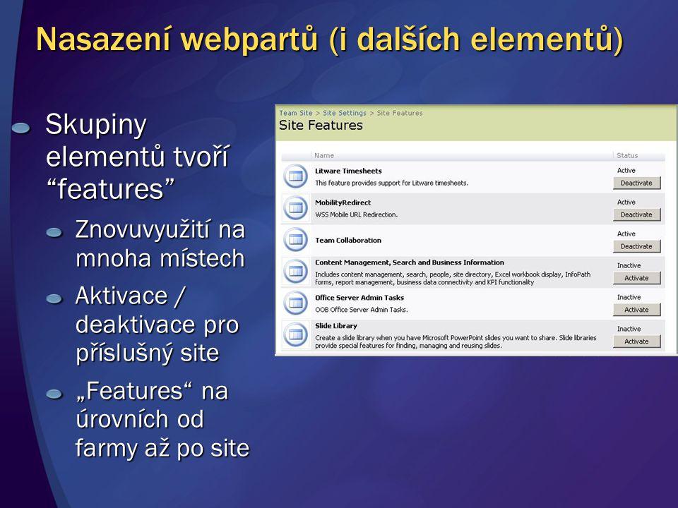 """Nasazení webpartů (i dalších elementů) Skupiny elementů tvoří """"features"""" Znovuvyužití na mnoha místech Aktivace / deaktivace pro příslušný site """"Featu"""