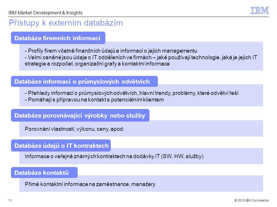 © 2013 IBM Corporation IBM Market Development & Insights 11 Přístupy k externím databázím - Profily firem včetně finančních ůdajů a informací o jejich