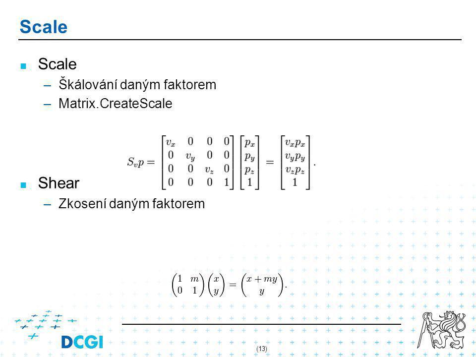 (13) Scale – –Škálování daným faktorem – –Matrix.CreateScale Shear – –Zkosení daným faktorem