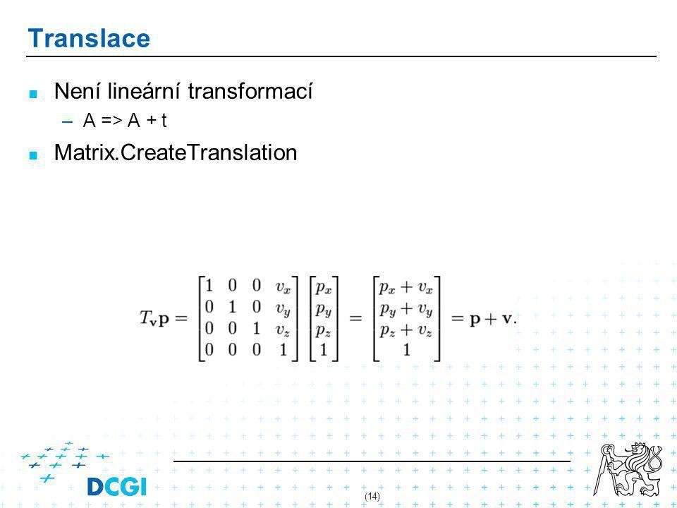 (14) Translace Není lineární transformací – –A => A + t Matrix.CreateTranslation