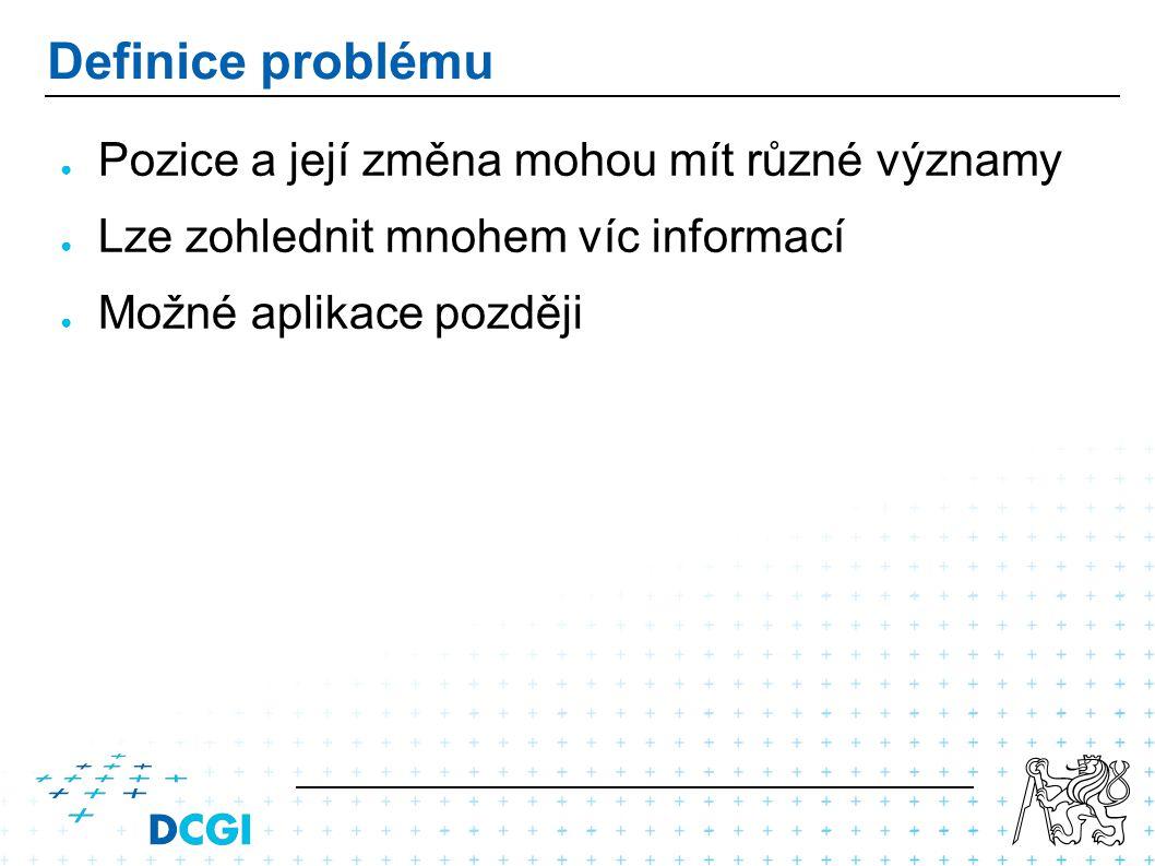 Definice problému ● Pozice a její změna mohou mít různé významy ● Lze zohlednit mnohem víc informací ● Možné aplikace později