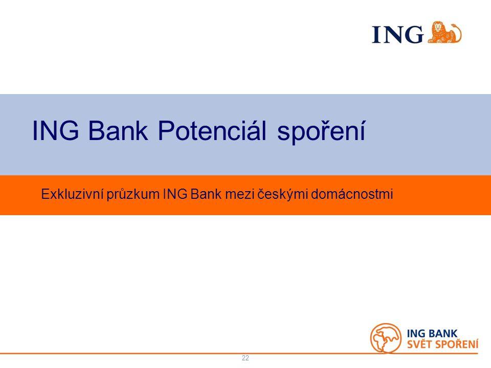 Do not put content on the brand signature area ING Bank Potenciál spoření Exkluzivní průzkum ING Bank mezi českými domácnostmi 22