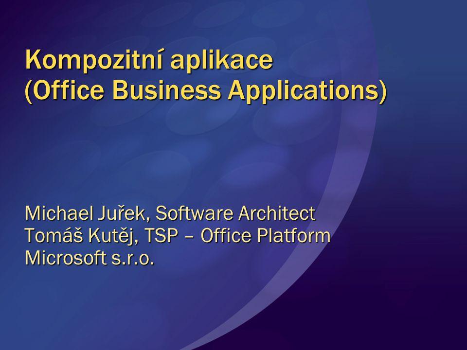 Kompozitní aplikace Dekompozice aplikací do bloků obsahujících existující data a obchodní logiku Mohou být složeny do větších celků napříč těmito aplikacemi Aplikace jsou vytvořeny s tím, že se budou měnit, vyvíjet a adaptovat na nové podmínky Znovupoužití Flexibilita, agilita Orientace na vykonávání úloh Volná vazba