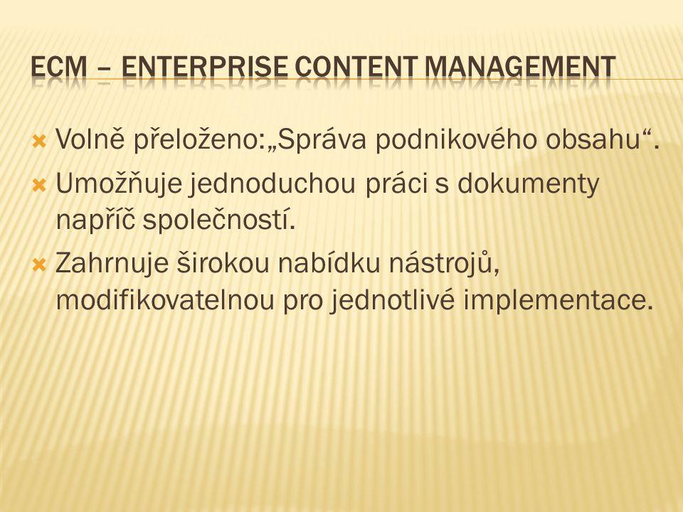 """ Volně přeloženo:""""Správa podnikového obsahu ."""