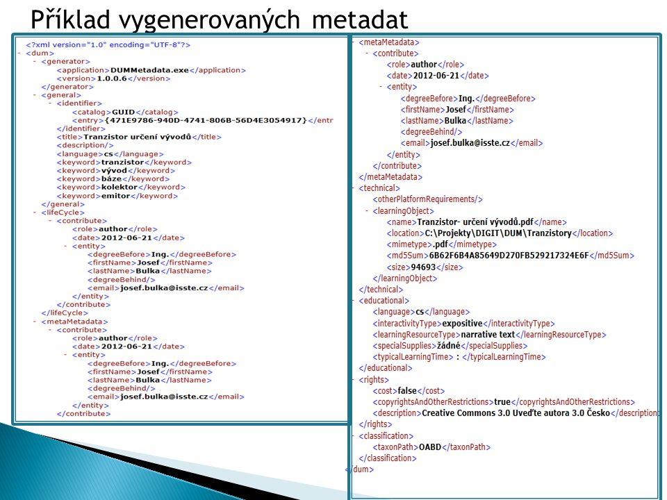 Příklad vygenerovaných metadat