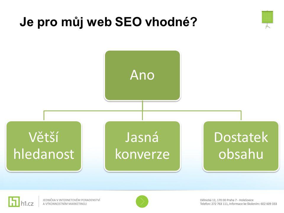 Je pro můj web SEO vhodné? Ano Větší hledanost Jasná konverze Dostatek obsahu